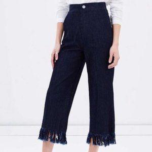 Vale Denim High Waist Wide Leg Fray Culotte Pants